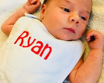 Baby Boys, Monogrammed Bib, Personalized Gift, Custom Monogram, Blue Red, Embroidered, Shower Idea, Newborn Infant, Customized Name, Present