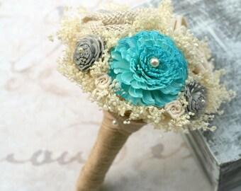 Turquoise & Gray, Wedding Flowers // Mini Bouquet, Toss Bouquet, Posy Bouquet, Sola Flowers, Burlap, Wedding Decorations, Centerpiece