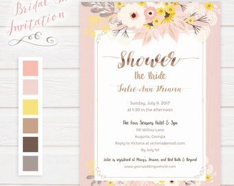 Blush Floral Bridal Shower Invitation - Printed Invitation, Printable Invitation - Elegant, Rustic, Classy, Classic