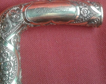 14 Karat Gold Handled Walking Presentation Cane, Initialed M and Inscribed 1874