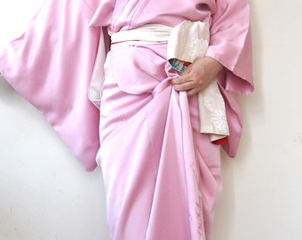 Pink silk long kimono robe womens/vintage japanese embroidery tsukesage kimono gown dress/boho bohemian robe/duster coat/silk long pajamas