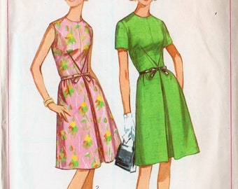 "1965 Dress Pattern Inverted Pleat Sleeveless Dress SIMPLICITY 6296 Bust 32"" High Neckline Dress Vintage Dress Retro Dress Pattern 60s Dress"