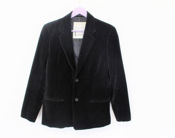 RESERVED Black Velvet Jacket ST MARTINS Mens Black Velvet Blazer  Black Velvet coat Military Jacket  Small Size