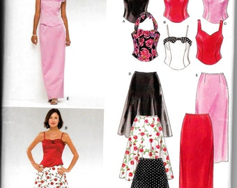 Simplicity 6340 New Look Evening skirt, Halter Tops, Prom , Sundress, Size 8 to 18 uncut sewing pattern new