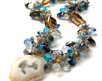 Solar Quartz pendant Necklace, Moonstone, Citrine, Labradorite, Kyanite, Pearl