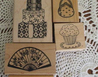 5 Wood Mounted Rubber Stamps