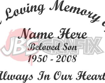 In Loving Memory Of Beloved Son Memorial Window Decal