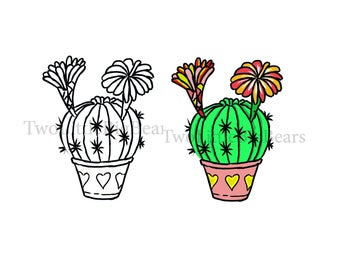 2020 SVG/JPG Cute Cactus with color and Black/White outline Hand Drawing