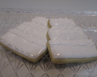 Wedding Cake Decorated Sugar Cookies  -1 dozen