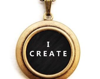 I CREATE Locket - Artisan Creative Word Wear Locket Necklace