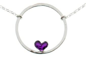 Sterling silver Valentine purple heart necklace