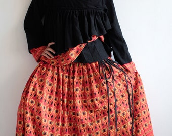 Skirt full length  maxi skirt...cotton Printed two layer (one size fits S-L)
