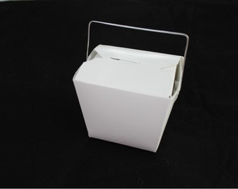 25 Small White Chinese Take Out Boxes for Party Favors or more - SMALL half-pint - Set of 25