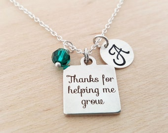 Thanks For Helping Me Grow Charm - Swarovski Birthstone - Initial Necklace - Personalized Necklace - Sterling Silver Necklace - Gift for Her