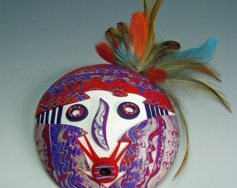 Sweet Medicine Kachina is a Handmade Polymer Clay Mask. This Art Mask can be Used as a Primitive Mask or Tribal Mask or a Shamanic Mask.