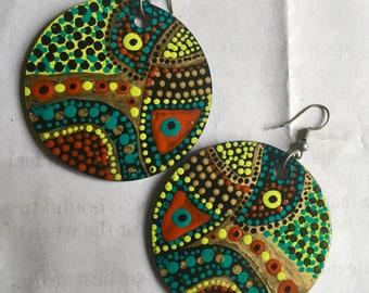 Handpainted colorful Boho/Tribal disk earrings OOAK