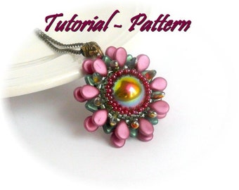 Beading pattern, tutorial for beaded pendant Sudar with Dome and Pip beads, PDF instructions, tutorial for beading step by step
