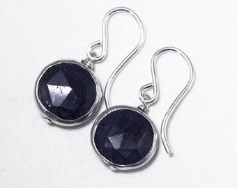 Blue Sapphire Earrings Genuine Sapphire Earrings Stering Silver Bezel Earrings September Birthstone Precious Gemstone BZ-E-105-Sapph/s
