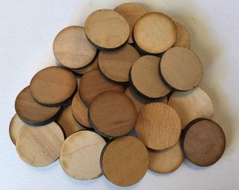 """Unfinished Round Wood Circle Discs 1 1/4"""" Set of 25, Laser Cut, laser cut wood, laser cut circle"""