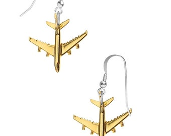 Gold Plated Airbus A380  on hook Earrings sterling silver 925 jewellery jewelry Aeroplane