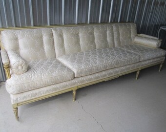 PICK UP ONLY Vintage 1950s Gorgeous Ivory Silk Upholstered Hollywood Regency Sofa by Brandt