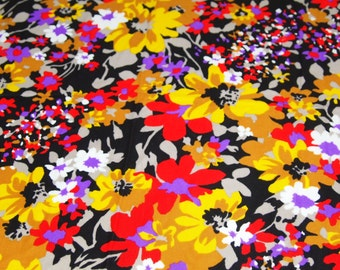 vintage 70s polyester knit, featuring bright and bold floral design, 1 yard