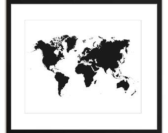 World map print, black print, black decor, black map print, world map printable, black prints, black wall art, instant download, 14x11, 10x8