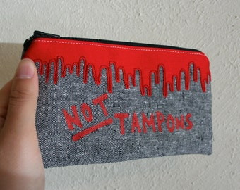 NOT TAMPONS - Tampon Case - Dripping Blood Applique Pouch - Zippered Pouch