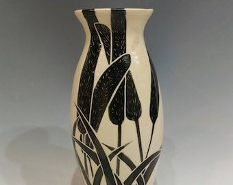 Botanical Black and White Ceramic Vase with Cat Tail Design--Wedding Gift Pottery
