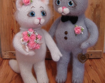 Wedding cats Cats Gift for the wedding Knitted cats Cat toy Lovers Mats art Toys Soft toys Knitted toys Bride and groom Newlyweds