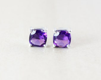 Purple Amethyst Studs - Cushion Cut - February Birthstone