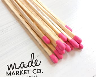Bright Pink Colored Tip Matches. Match Sticks Refills Unbottled 50 Count. Farmhouse Home Decor Gifts for Her Best Seller Most Popular Item