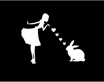 Pinup Girl with Bunny Rabbit Decal- Bunny Rabbit Mom Blowing Kisses Decal -- Car Window Decal Sticker