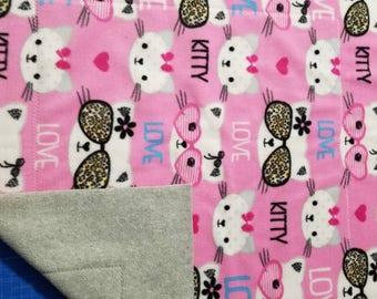 Fleece Cat Blanket - Luxury Cat Blanket - Pink Cats w/Shades