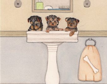 Yorkshire terrier (yorkie) puppies fill sink at bath time / Lynch signed folk art print
