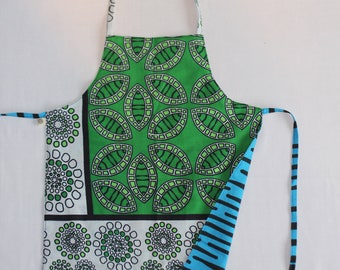 Reversible Child Apron, African Khanga - Green Bubbles and Purple Aqua Blobs, Small Kids Apron