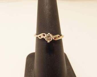 14K Yellow Gold Diamond Vintage Engagement Ring