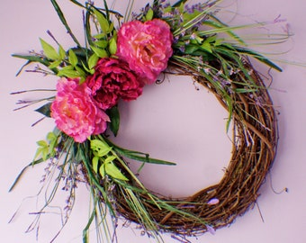 Front Door Wreaths, Door Wreath, Wedding Wreath, Door Wreaths, Pink Peony Wreath, Year Round Wreath, Spring Summer Fall Door Wreaths