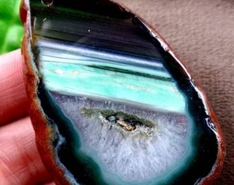 Amazing druzy geode pendant! Green, freeform, unique, on Sterling silver chain.