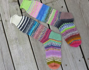 Hand Knit Socks Zebra Roll Top