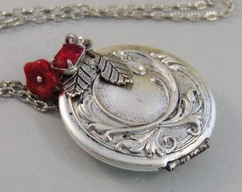 Ruby Maiden,Locket,Silver Locket,Flower,Red,Ruby,Garnet,Antique Locket,Floral,Jewelry. Handmade jewelry by valleygirldesigns.