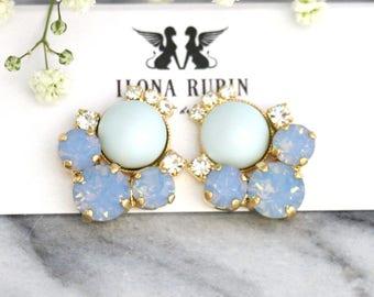Blue Earrings, Blue Sky Earrings, Bridal Powder Blue Earrings, Blue Opal Earrings, Dusty Blue Stud Earrings, Bridesmaids Blue Earrings