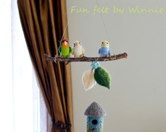 Needle felted Birds mobile OOAK handmade wool sculpture decoration