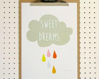 SALE Sweet Dreams Rain Cloud Rainbow Raindrops Nursery Print A4 Poster Art Print Baby New Baby Children's Grey Pink Blue Red on White