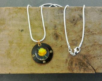 Copper + vintage flower image pendant on silver chain