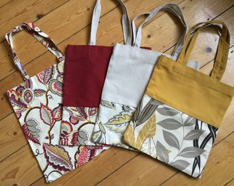 Funky limited edition handmade floral cotton canvas tote bag, shopper bag, yoga bag, shoulder bag