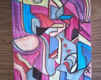 Of Two Hearts --- Tiny Abstract Painting / Early Period of Hyper-Cubism