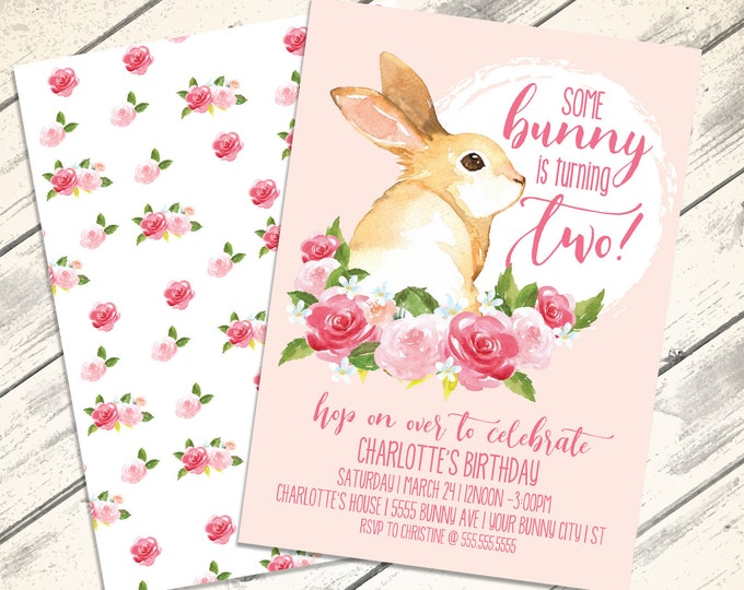 Bunny Party Invitation - Spring Birthday Party, Bunny Party, Rabbit Party, Spring Fling | Editable Text - Instant Download PDF Printable