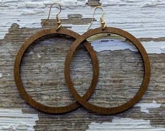 Hoop Earrings~Earrings~Large Hoop Earrings~Wood Earrings~Joanna Gaines Inspired~Magnolia Jewelry~Rustic Jewelry~Minimalist Earrings