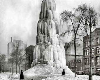 The Historic Washington Ave (Detroit) in Winter c1917. Archival Print. Limited edition